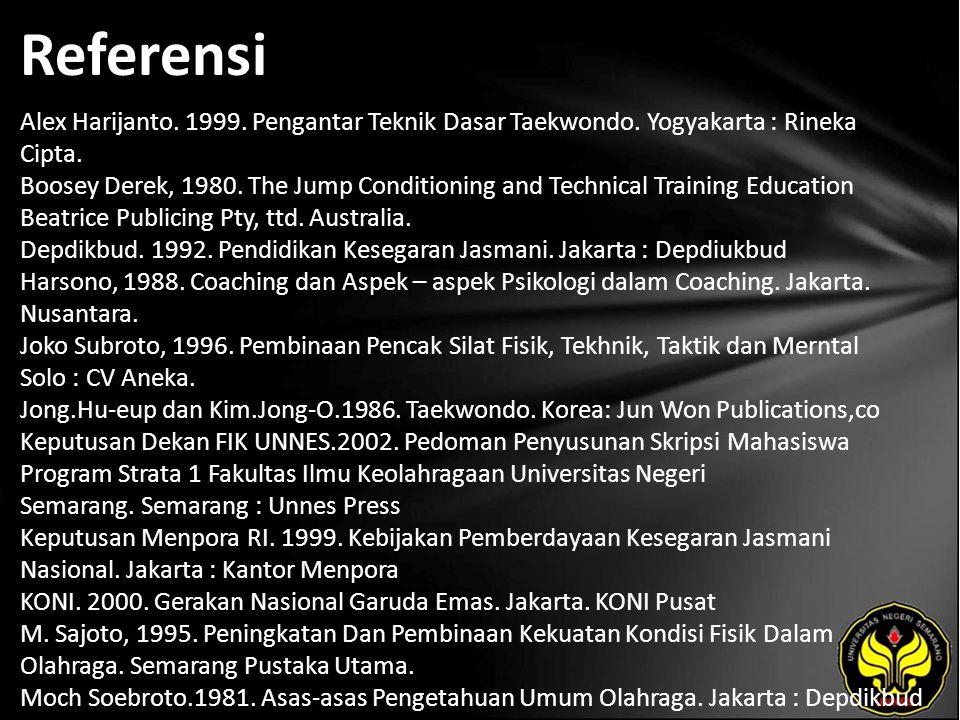 Referensi Alex Harijanto. 1999. Pengantar Teknik Dasar Taekwondo. Yogyakarta : Rineka Cipta. Boosey Derek, 1980. The Jump Conditioning and Technical T