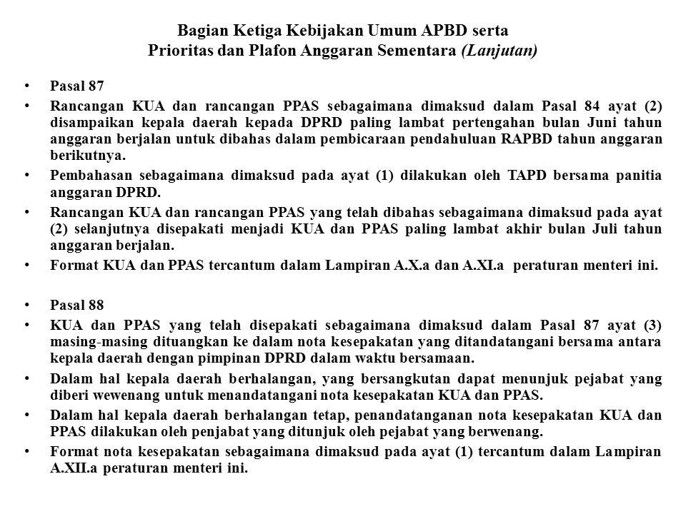 Bagian Ketiga Kebijakan Umum APBD serta Prioritas dan Plafon Anggaran Sementara (Lanjutan) Pasal 87 Rancangan KUA dan rancangan PPAS sebagaimana dimak