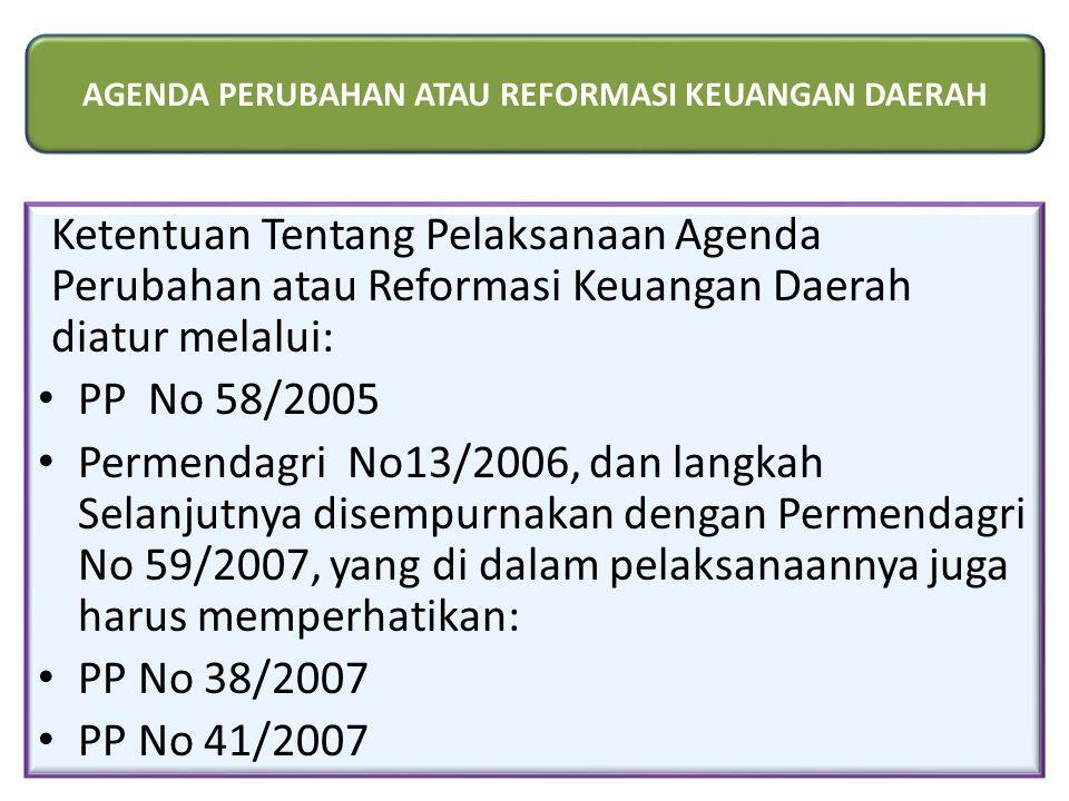 Ketentuan Tentang Pelaksanaan Agenda Perubahan atau Reformasi Keuangan Daerah diatur melalui: PP No 58/2005 Permendagri No13/2006, dan langkah Selanjutnya disempurnakan dengan Permendagri No 59/2007, yang di dalam pelaksanaannya juga harus memperhatikan: PP No 38/2007 PP No 41/2007 AGENDA PERUBAHAN ATAU REFORMASI KEUANGAN DAERAH