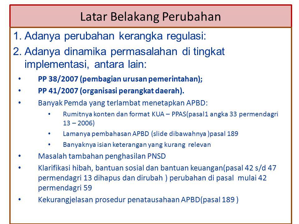 PP 38/2007 (pembagian urusan pemerintahan); PP 41/2007 (organisasi perangkat daerah). Banyak Pemda yang terlambat menetapkan APBD: Rumitnya konten dan