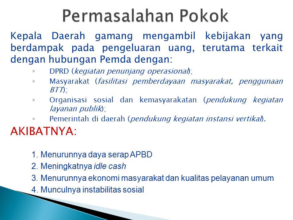 Kepala Daerah gamang mengambil kebijakan yang berdampak pada pengeluaran uang, terutama terkait dengan hubungan Pemda dengan: ◦ DPRD (kegiatan penunja