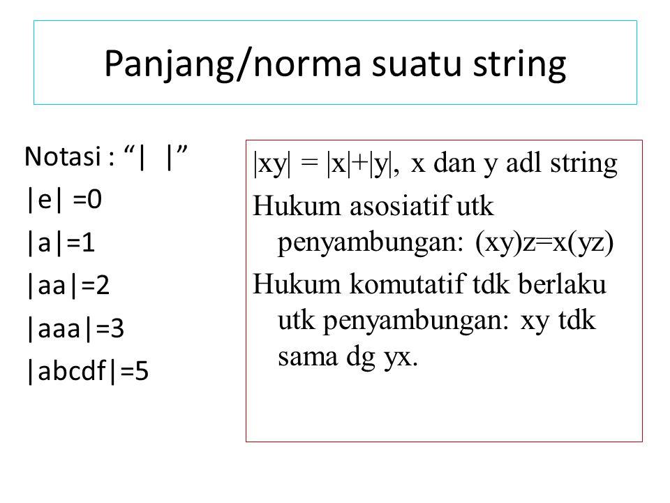 "Panjang/norma suatu string Notasi : ""| |"" |e| =0 |a|=1 |aa|=2 |aaa|=3 |abcdf|=5 |xy| = |x|+|y|, x dan y adl string Hukum asosiatif utk penyambungan: ("