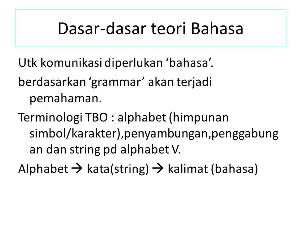 Dasar-dasar teori Bahasa Utk komunikasi diperlukan 'bahasa'. berdasarkan 'grammar' akan terjadi pemahaman. Terminologi TBO : alphabet (himpunan simbol