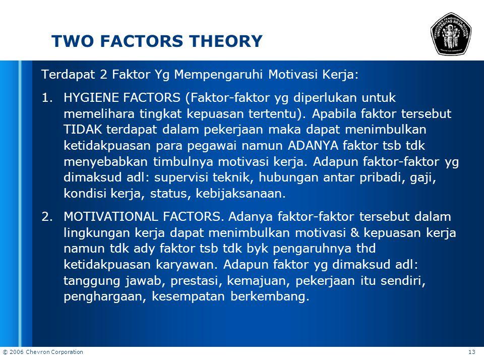 © 2006 Chevron Corporation 13 TWO FACTORS THEORY Terdapat 2 Faktor Yg Mempengaruhi Motivasi Kerja: 1.HYGIENE FACTORS (Faktor-faktor yg diperlukan untu