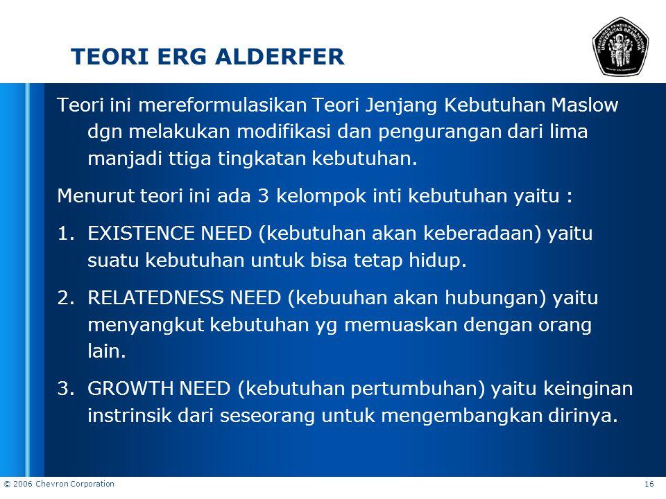 © 2006 Chevron Corporation 16 TEORI ERG ALDERFER Teori ini mereformulasikan Teori Jenjang Kebutuhan Maslow dgn melakukan modifikasi dan pengurangan da