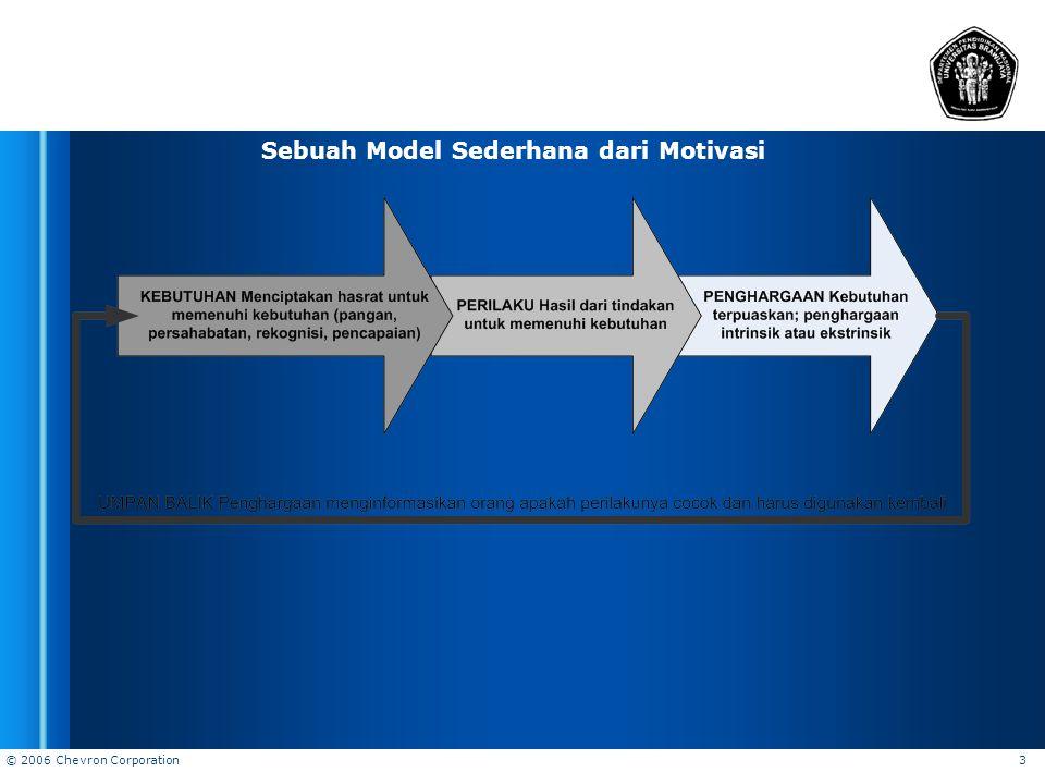 © 2006 Chevron Corporation 3 Sebuah Model Sederhana dari Motivasi