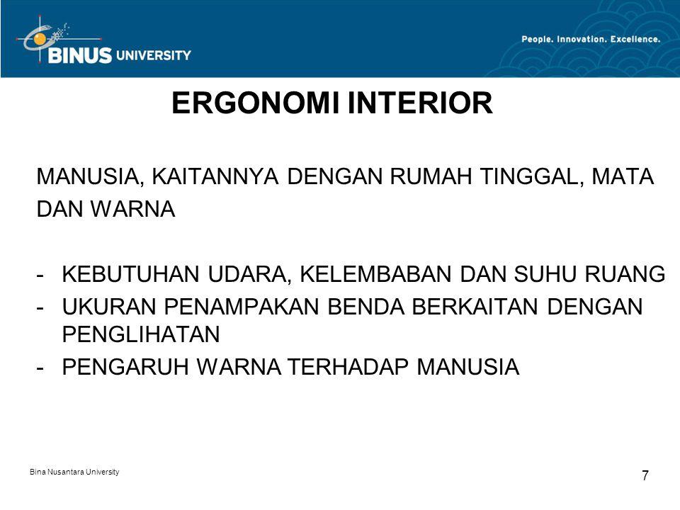 Bina Nusantara University 7 ERGONOMI INTERIOR MANUSIA, KAITANNYA DENGAN RUMAH TINGGAL, MATA DAN WARNA -KEBUTUHAN UDARA, KELEMBABAN DAN SUHU RUANG -UKURAN PENAMPAKAN BENDA BERKAITAN DENGAN PENGLIHATAN -PENGARUH WARNA TERHADAP MANUSIA