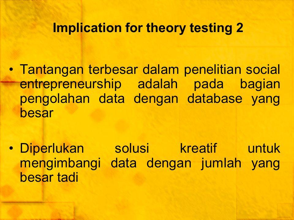 Implication for theory testing 2 Tantangan terbesar dalam penelitian social entrepreneurship adalah pada bagian pengolahan data dengan database yang b