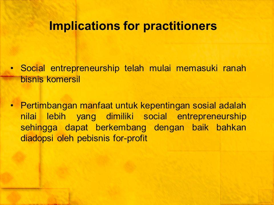 Implications for practitioners Social entrepreneurship telah mulai memasuki ranah bisnis komersil Pertimbangan manfaat untuk kepentingan sosial adalah