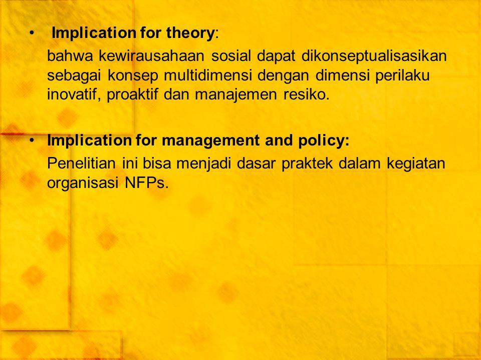 Implication for theory: bahwa kewirausahaan sosial dapat dikonseptualisasikan sebagai konsep multidimensi dengan dimensi perilaku inovatif, proaktif d