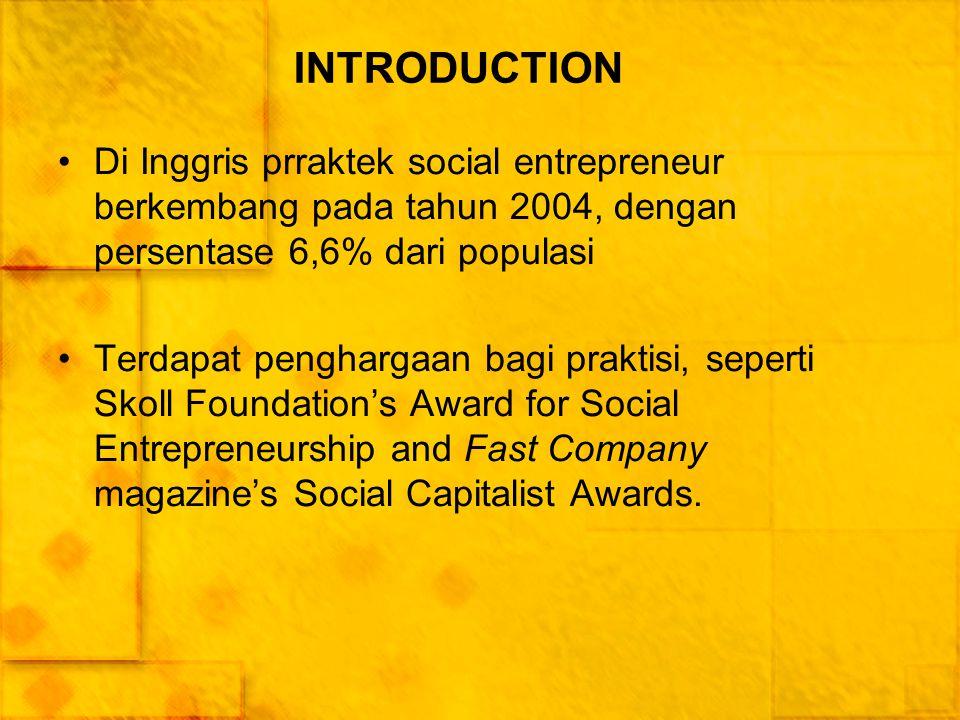 INTRODUCTION Di Inggris prraktek social entrepreneur berkembang pada tahun 2004, dengan persentase 6,6% dari populasi Terdapat penghargaan bagi prakti