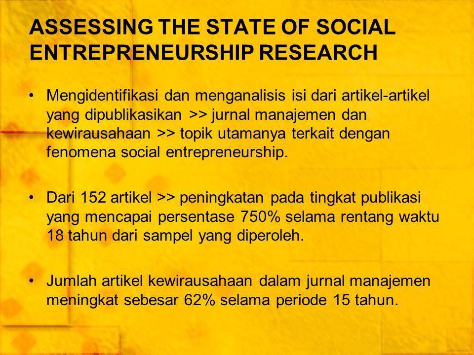 Social entrepreneurship publications and citations Disiplin ilmu yang paling umum memberikan kontribusi untuk penelitian social entrepreneur adalah manajemen (26%), lalu diikuti oleh kewirausahaan (11%), ilmu politik (10%), ekonomi (9%), pemasaran (6%), sosiologi (5%), dan pendidikan (5%).