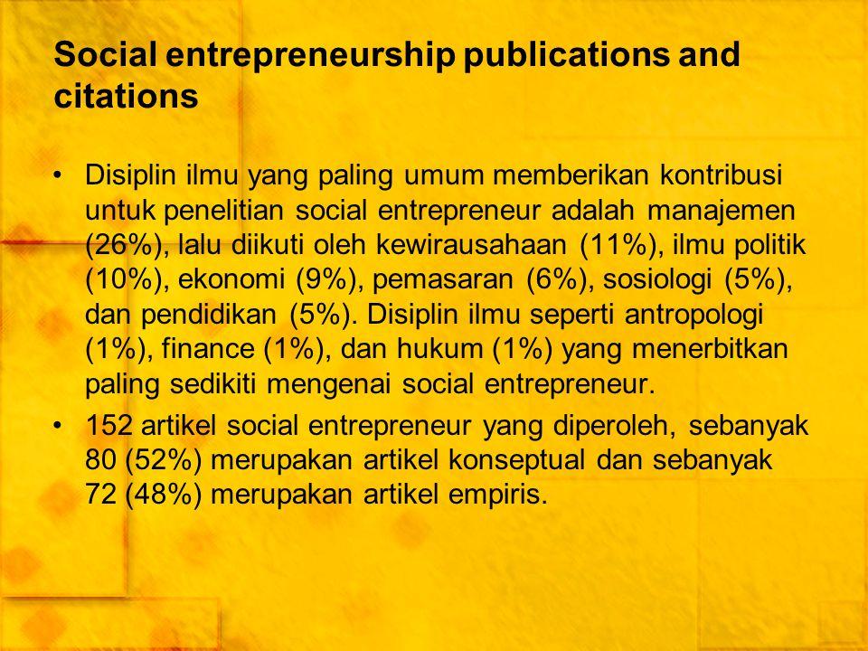 Social entrepreneurship publications and citations Disiplin ilmu yang paling umum memberikan kontribusi untuk penelitian social entrepreneur adalah ma