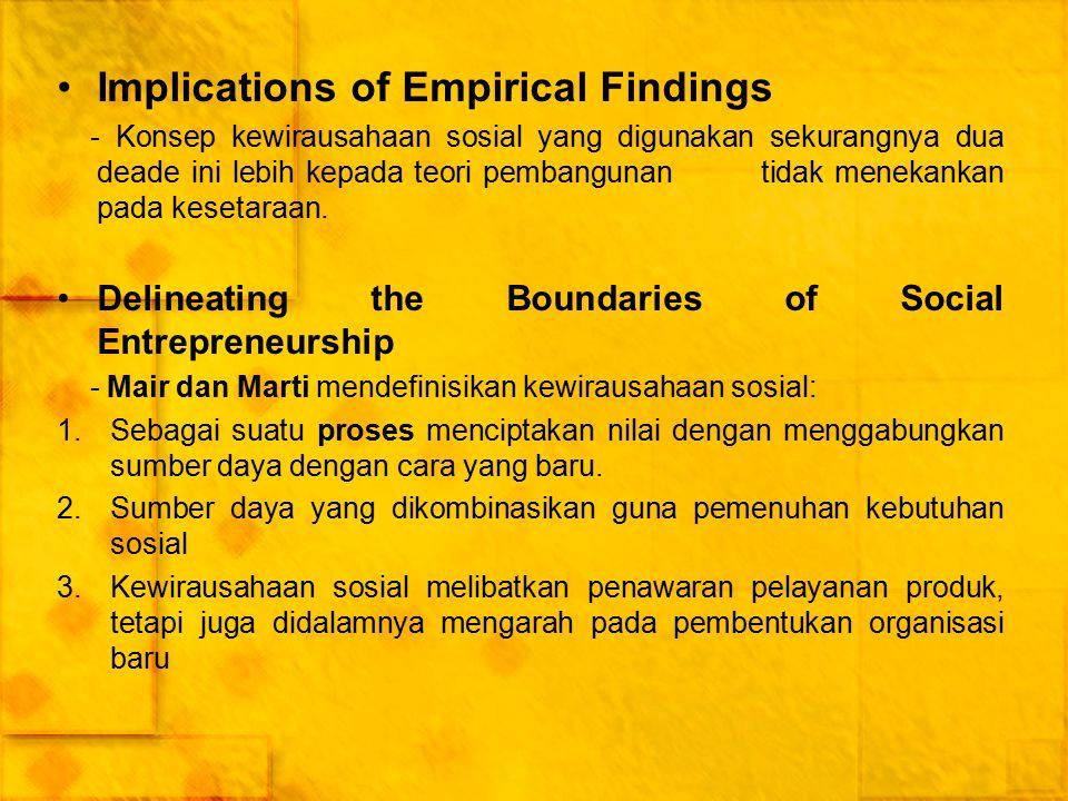 Implications of Empirical Findings - Konsep kewirausahaan sosial yang digunakan sekurangnya dua deade ini lebih kepada teori pembangunan tidak menekan