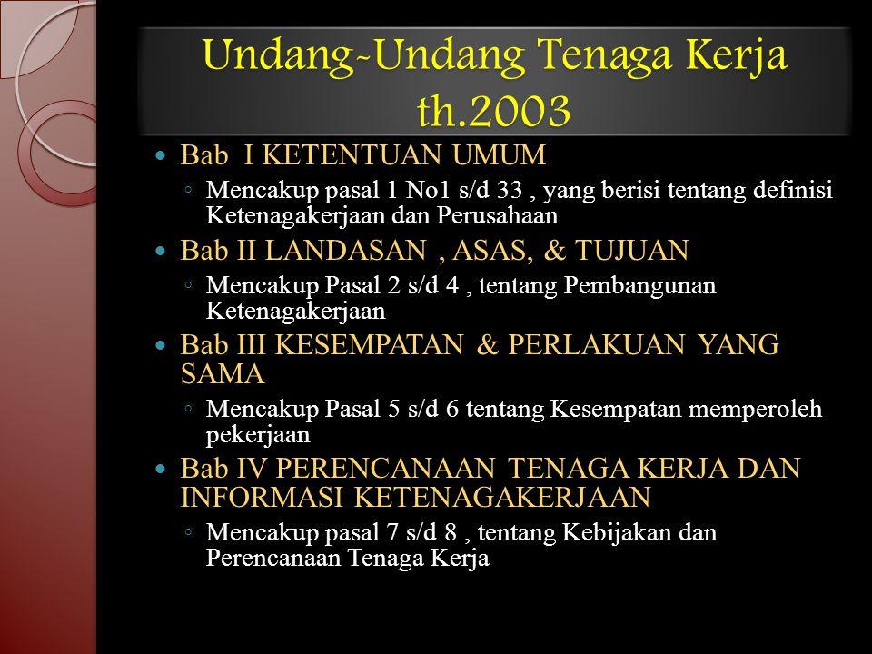 Undang-Undang Tenaga Kerja th.2003 Bab I KETENTUAN UMUM ◦ Mencakup pasal 1 No1 s/d 33, yang berisi tentang definisi Ketenagakerjaan dan Perusahaan Bab