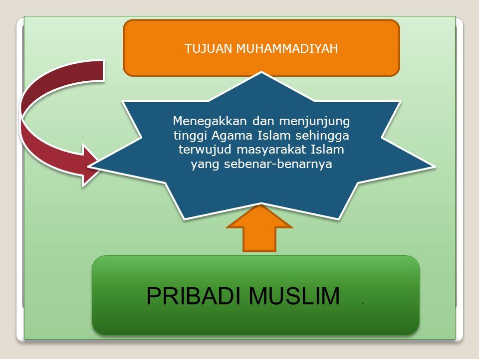 TUJUAN MUHAMMADIYAH PRIBADI MUSLIM. Menegakkan dan menjunjung tinggi Agama Islam sehingga terwujud masyarakat Islam yang sebenar-benarnya