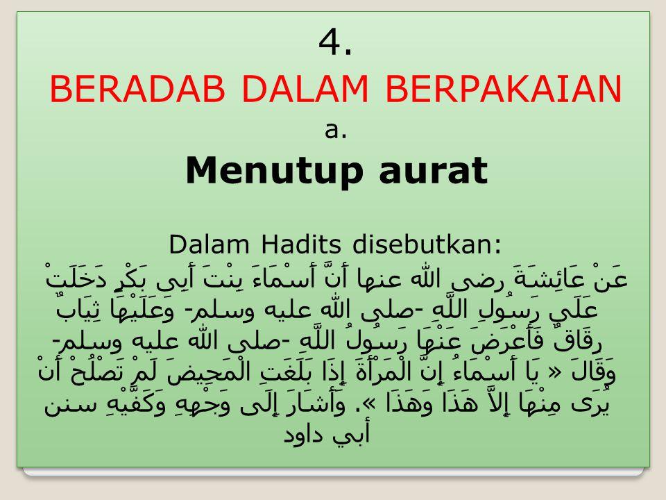 4.BERADAB DALAM BERPAKAIAN a.