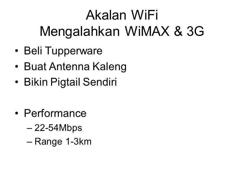 Akalan WiFi Mengalahkan WiMAX & 3G Beli Tupperware Buat Antenna Kaleng Bikin Pigtail Sendiri Performance –22-54Mbps –Range 1-3km