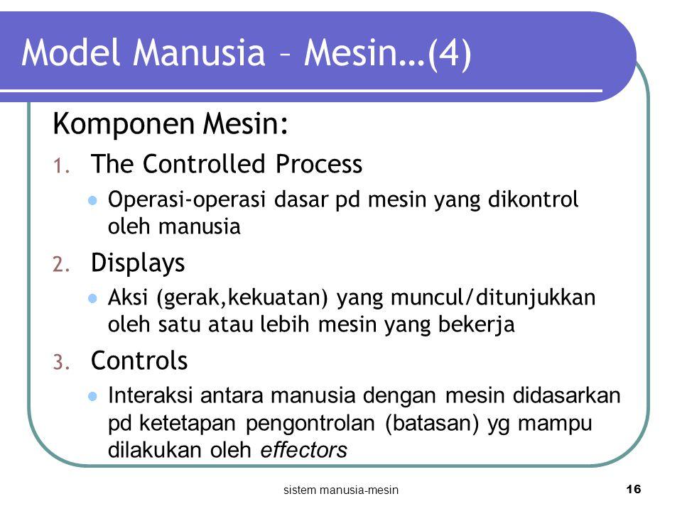 sistem manusia-mesin 16 Model Manusia – Mesin…(4) Komponen Mesin: 1. The Controlled Process Operasi-operasi dasar pd mesin yang dikontrol oleh manusia