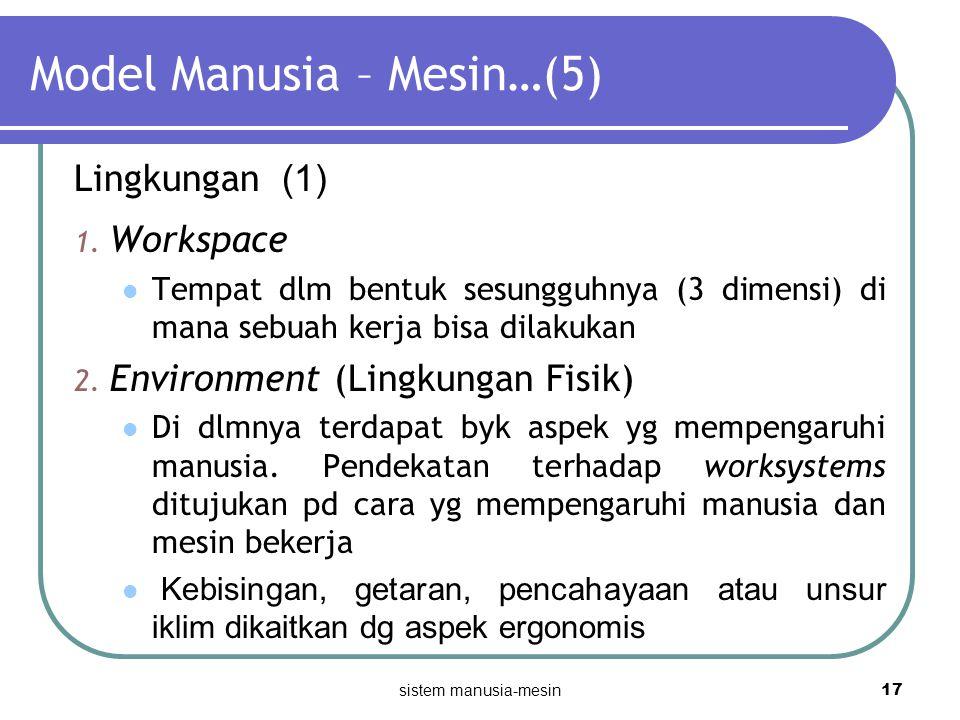 sistem manusia-mesin 17 Model Manusia – Mesin…(5) Lingkungan (1) 1. Workspace Tempat dlm bentuk sesungguhnya (3 dimensi) di mana sebuah kerja bisa dil