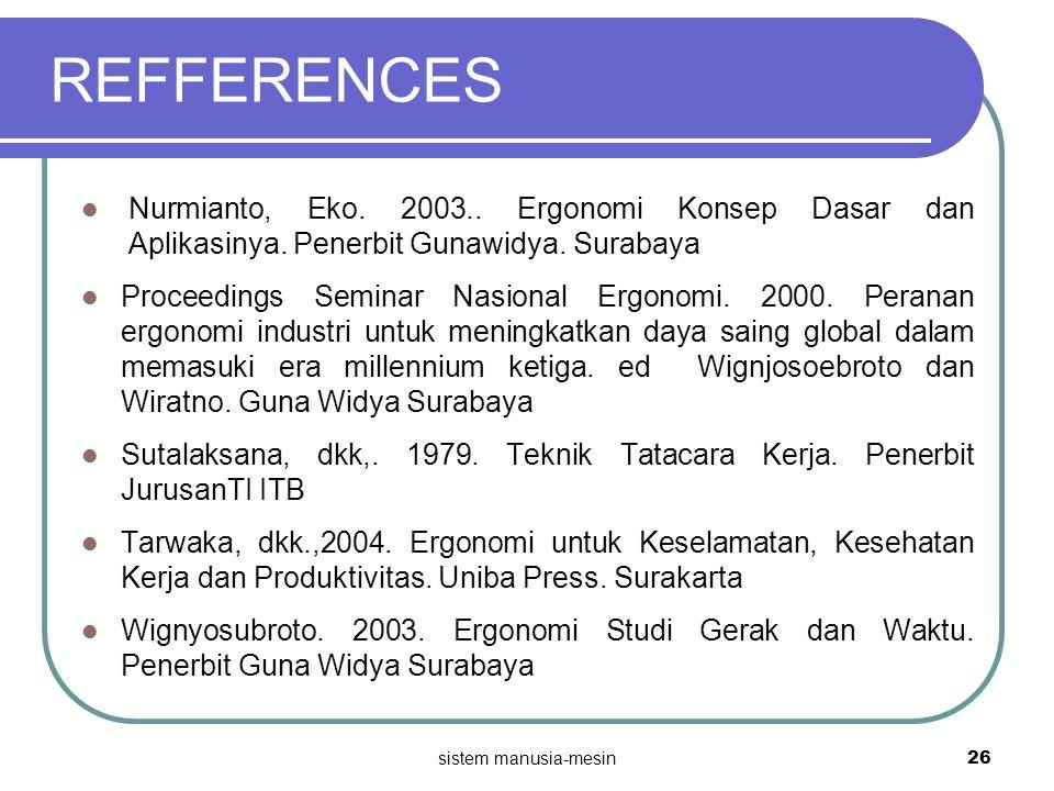 REFFERENCES Nurmianto, Eko. 2003.. Ergonomi Konsep Dasar dan Aplikasinya. Penerbit Gunawidya. Surabaya Proceedings Seminar Nasional Ergonomi. 2000. Pe
