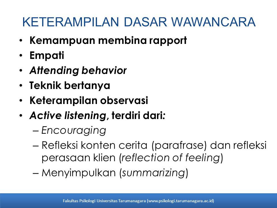 KETERAMPILAN DASAR WAWANCARA Kemampuan membina rapport Empati Attending behavior Teknik bertanya Keterampilan observasi Active listening, terdiri dari