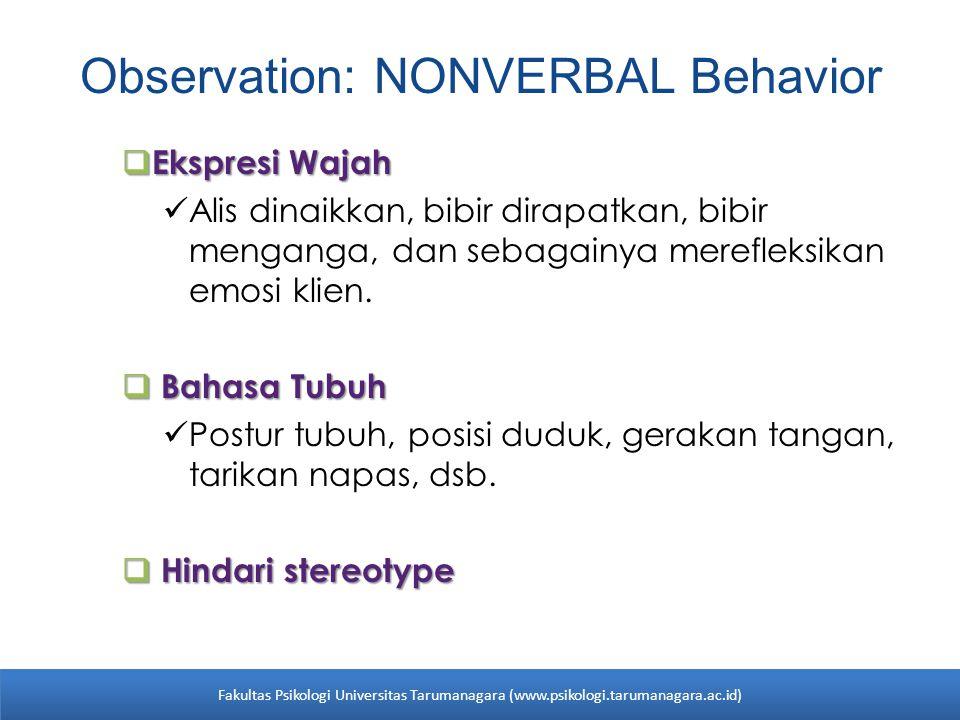 Observation: NONVERBAL Behavior  Ekspresi Wajah Alis dinaikkan, bibir dirapatkan, bibir menganga, dan sebagainya merefleksikan emosi klien.  Bahasa