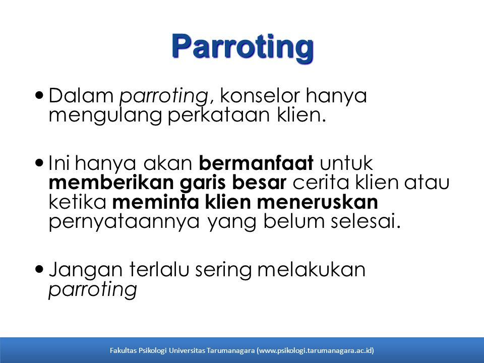 Parroting Dalam parroting, konselor hanya mengulang perkataan klien. Ini hanya akan bermanfaat untuk memberikan garis besar cerita klien atau ketika m