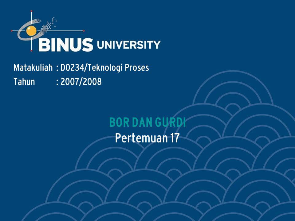 Bina Nusantara Learning Outcomes Outline Materi : BOR DAN GURDI Mahasiswa dapat menerangkan prinsip kerja mesin bor dan gurdi.