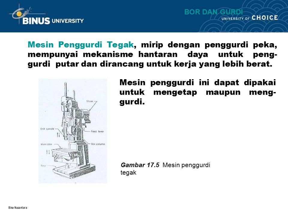Bina Nusantara Mesin Penggurdi Radial, dirancang untuk pekerjaan yang besar kalau tidak memungkinkan bagi benda kerja untuk digerakkan berputar bila beberapa lubang harus digurdi.