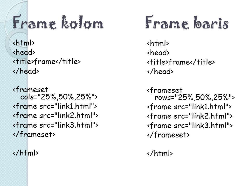 Frame kolom frame Frame baris frame