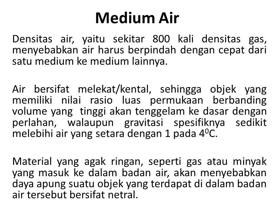 Medium Air Densitas air, yaitu sekitar 800 kali densitas gas, menyebabkan air harus berpindah dengan cepat dari satu medium ke medium lainnya. Air ber