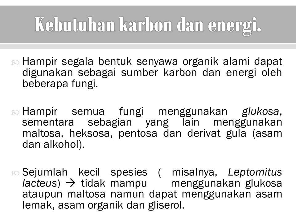  Hampir segala bentuk senyawa organik alami dapat digunakan sebagai sumber karbon dan energi oleh beberapa fungi.