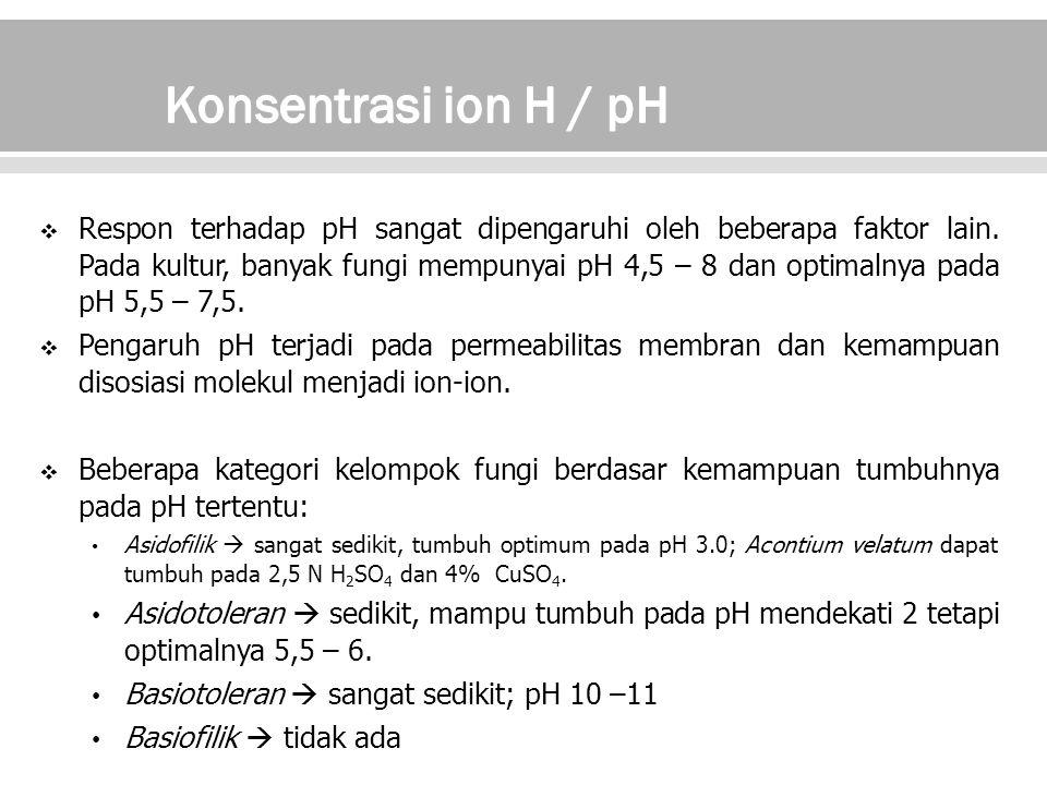  Pengambilan selektif dan pertukaran ion.Fungi harus menjaga kesetimbangan ion di dalam tubuhnya.