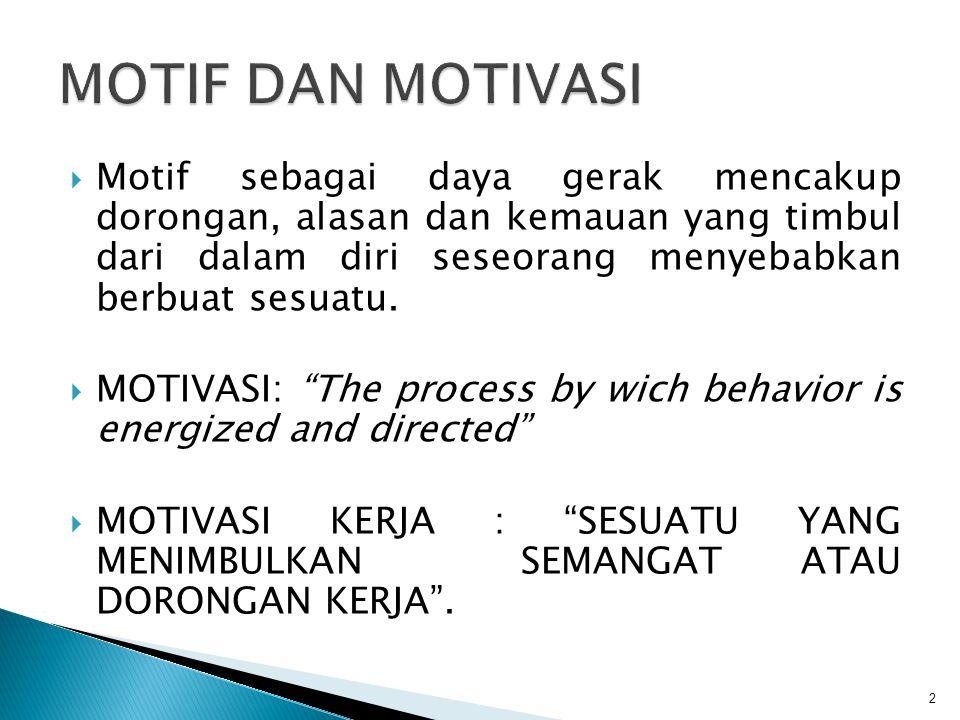  MOTIF ADALAH MAJEMUK Dalam suatu perbuatan terdiri dari beberapa tujuan yang ingin dicapai  MOTIF DAPAT BERUBAH-UBAH Motif seseorang sering berubah-ubah sesuai dengan kebutuhan atau kepentingannya  MOTIF BERBEDA-BEDA BAGI INDIVIDU Dua orang yang mengerjakan pekerjaan yg sama dapat memiliki motif yg berbeda  BEBERAPA MOTIF TIDAK DISADARI OLEH INDIVIDU Kadang2 tingkahlaku individu tidak disadari 3