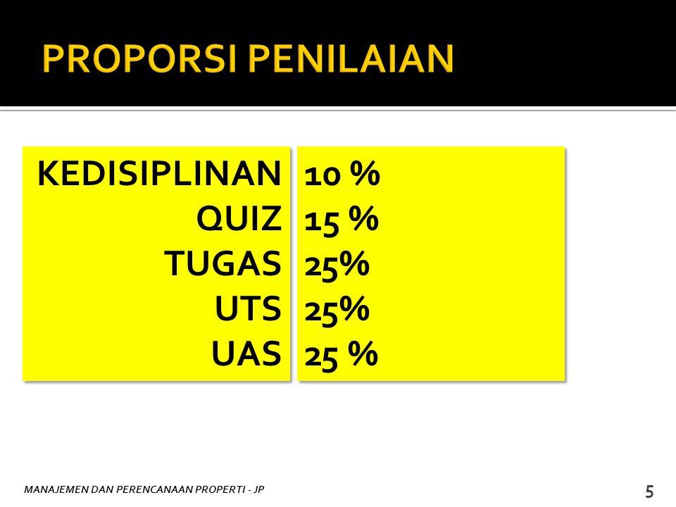 MANAJEMEN DAN PERENCANAAN PROPERTI - JP 5 KEDISIPLINAN QUIZ TUGAS UTS UAS KEDISIPLINAN QUIZ TUGAS UTS UAS 10 % 15 % 25% 10 % 15 % 25%