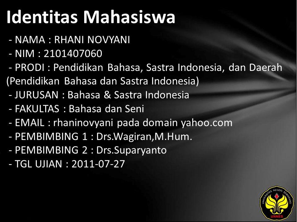 Identitas Mahasiswa - NAMA : RHANI NOVYANI - NIM : 2101407060 - PRODI : Pendidikan Bahasa, Sastra Indonesia, dan Daerah (Pendidikan Bahasa dan Sastra