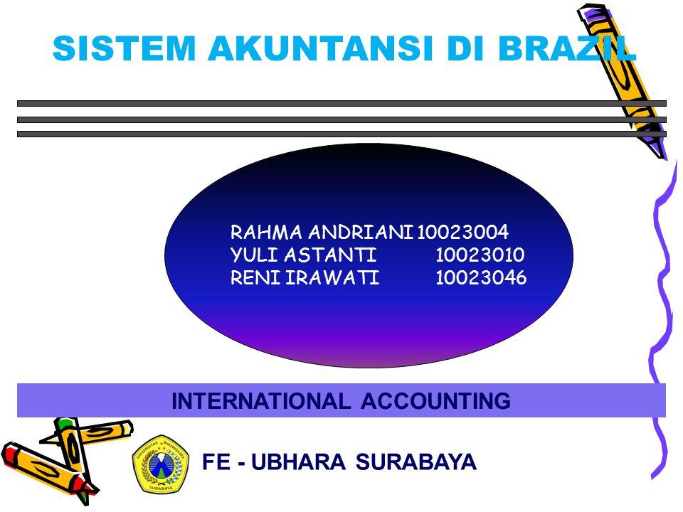 INTERNATIONAL ACCOUNTING RAHMA ANDRIANI 10023004 YULI ASTANTI 10023010 RENI IRAWATI 10023046 FE - UBHARA SURABAYA SISTEM AKUNTANSI DI BRAZIL