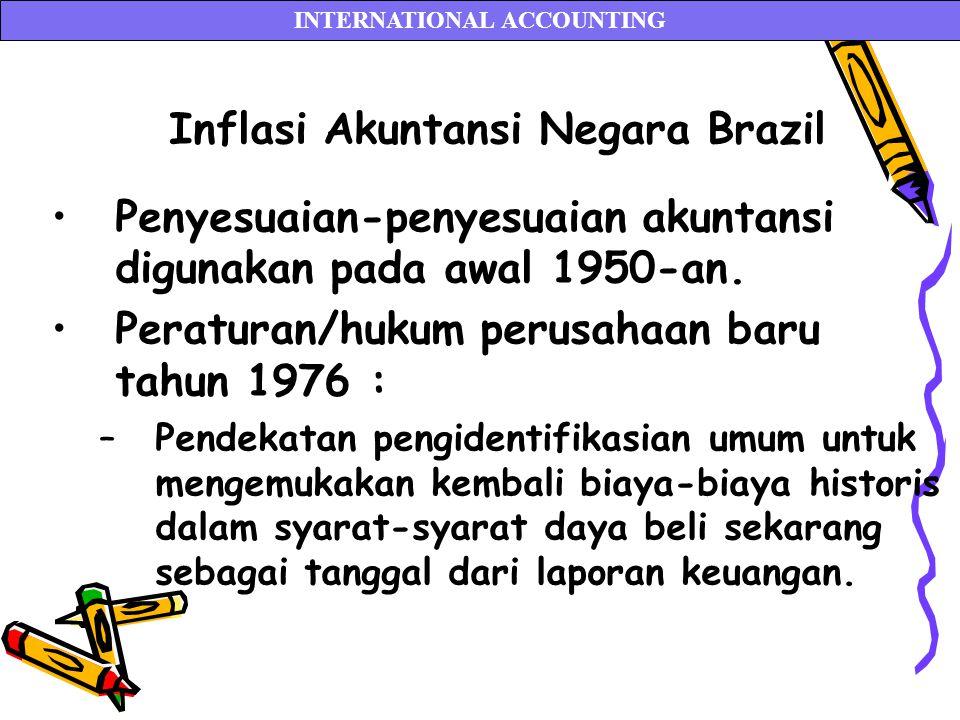 Inflasi Akuntansi Negara Brazil Penyesuaian-penyesuaian akuntansi digunakan pada awal 1950-an. Peraturan/hukum perusahaan baru tahun 1976 : –Pendekata