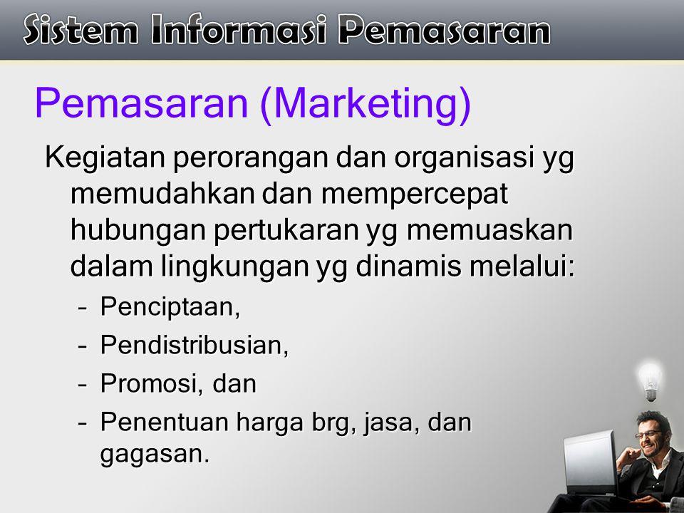 Pemasaran (Marketing) Kegiatan perorangan dan organisasi yg memudahkan dan mempercepat hubungan pertukaran yg memuaskan dalam lingkungan yg dinamis me