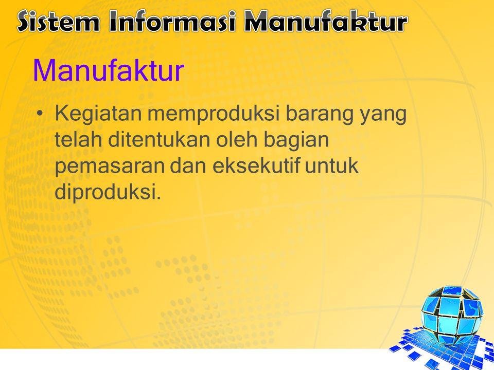Manufaktur Kegiatan memproduksi barang yang telah ditentukan oleh bagian pemasaran dan eksekutif untuk diproduksi.