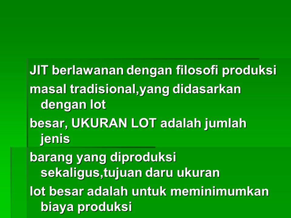 JIT berlawanan dengan filosofi produksi masal tradisional,yang didasarkan dengan lot besar, UKURAN LOT adalah jumlah jenis barang yang diproduksi seka