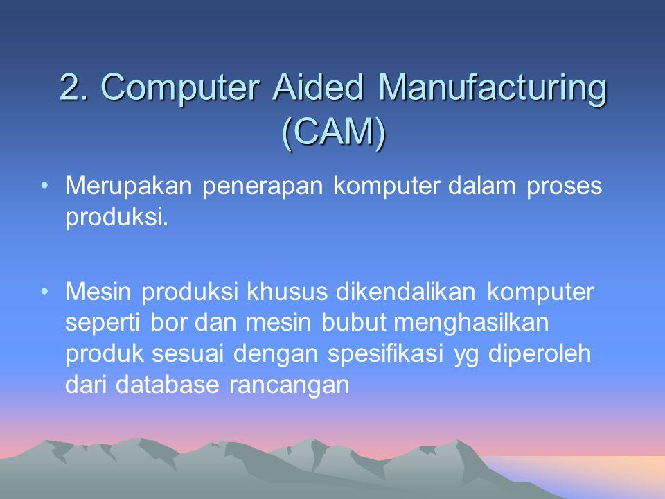 2. Computer Aided Manufacturing (CAM) Merupakan penerapan komputer dalam proses produksi. Mesin produksi khusus dikendalikan komputer seperti bor dan