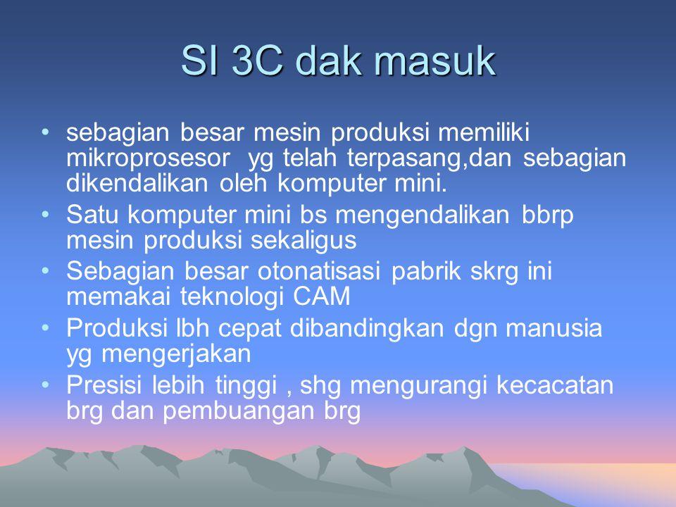 SI 3C dak masuk sebagian besar mesin produksi memiliki mikroprosesor yg telah terpasang,dan sebagian dikendalikan oleh komputer mini. Satu komputer mi