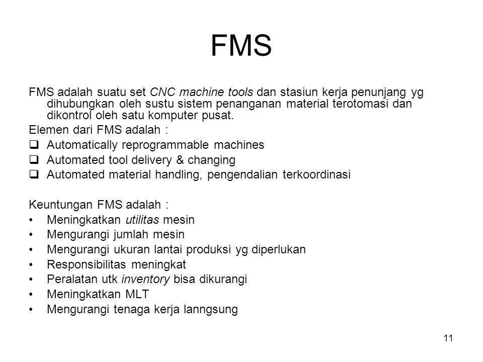 11 FMS FMS adalah suatu set CNC machine tools dan stasiun kerja penunjang yg dihubungkan oleh sustu sistem penanganan material terotomasi dan dikontrol oleh satu komputer pusat.