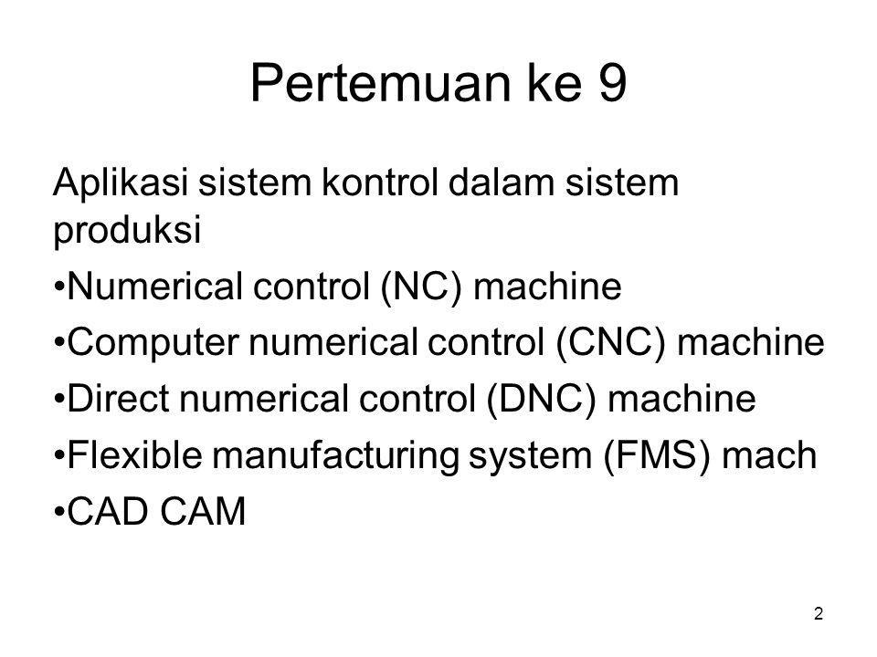 2 Pertemuan ke 9 Aplikasi sistem kontrol dalam sistem produksi Numerical control (NC) machine Computer numerical control (CNC) machine Direct numerical control (DNC) machine Flexible manufacturing system (FMS) mach CAD CAM