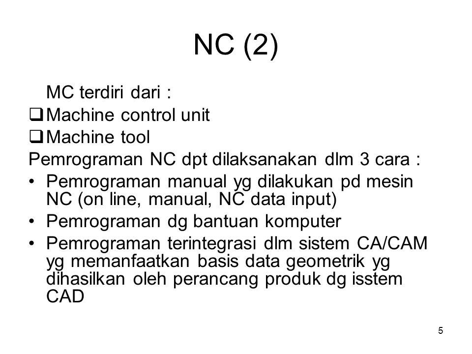 5 NC (2) MC terdiri dari :  Machine control unit  Machine tool Pemrograman NC dpt dilaksanakan dlm 3 cara : Pemrograman manual yg dilakukan pd mesin NC (on line, manual, NC data input) Pemrograman dg bantuan komputer Pemrograman terintegrasi dlm sistem CA/CAM yg memanfaatkan basis data geometrik yg dihasilkan oleh perancang produk dg isstem CAD