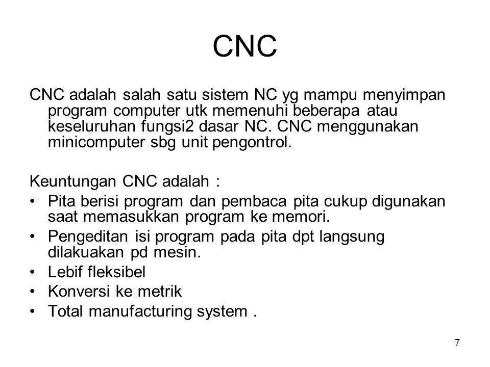 7 CNC CNC adalah salah satu sistem NC yg mampu menyimpan program computer utk memenuhi beberapa atau keseluruhan fungsi2 dasar NC.