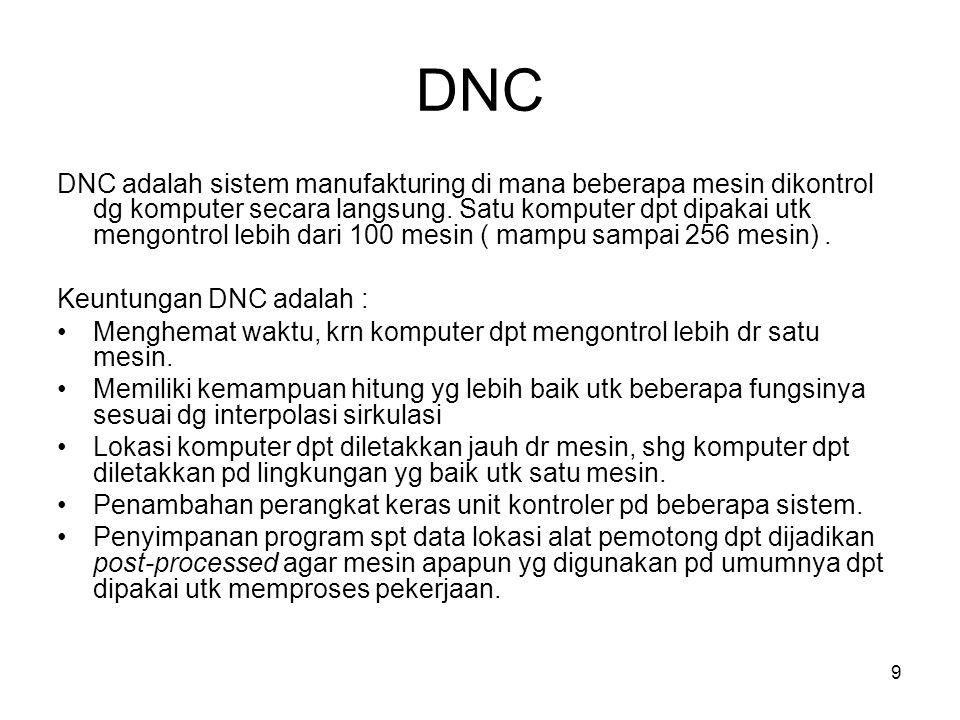 9 DNC DNC adalah sistem manufakturing di mana beberapa mesin dikontrol dg komputer secara langsung. Satu komputer dpt dipakai utk mengontrol lebih dar