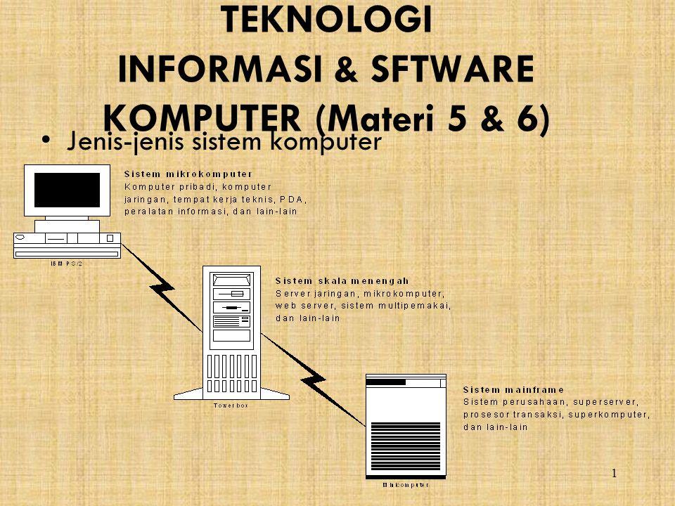 1 TEKNOLOGI INFORMASI & SFTWARE KOMPUTER (Materi 5 & 6) Jenis-jenis sistem komputer